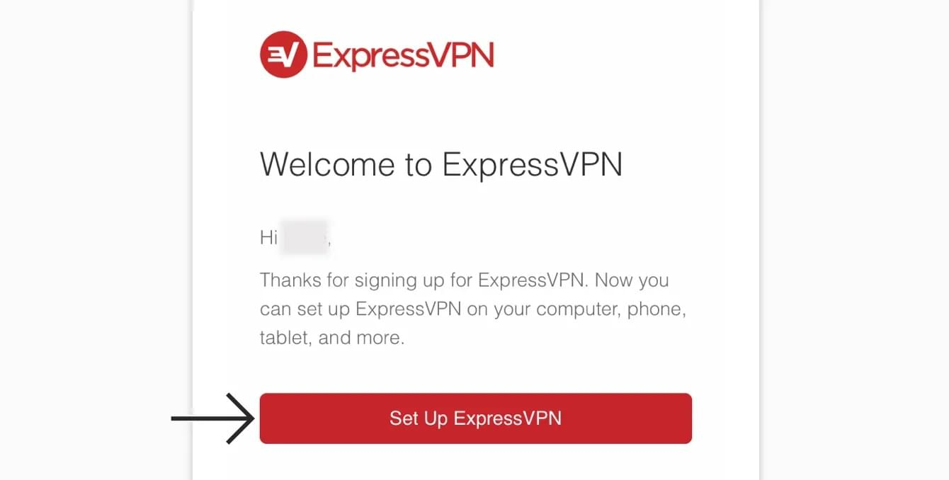ExpressVPN Welcome email