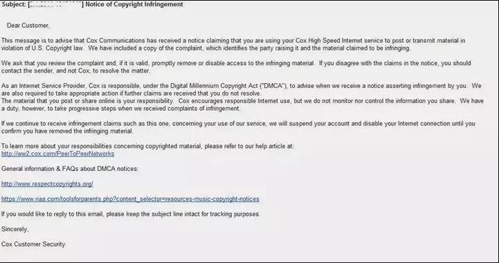 服务器提供商的版权侵犯声明