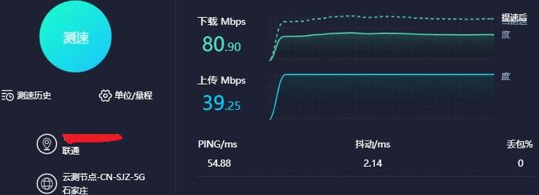 未使用VPN测速